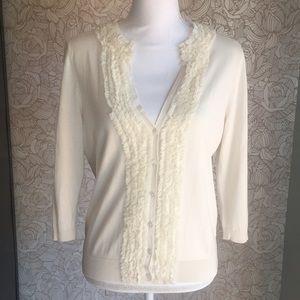 Talbots silk-blend ruffle cream cardigan